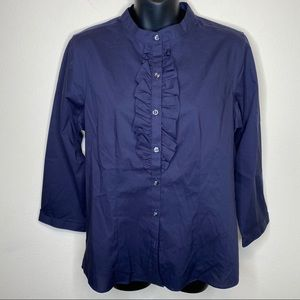 Lands End Navy Ruffle Front Collarless Button Down